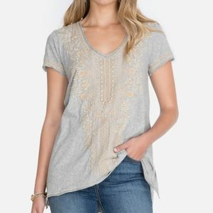 Johnny Was Embroidered Knit Drape Top